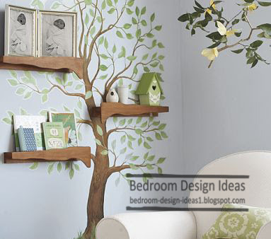 Modern Shelves Design With Tree Theme For Kids Bedroom Design