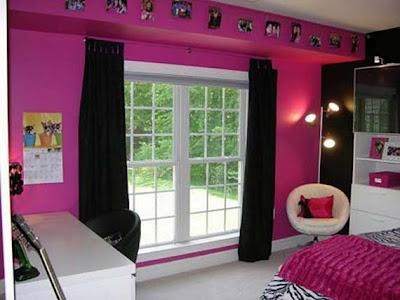 dormitorio fucsia y negro