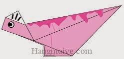 Bước 8: Dùng bút vẽ để hoàn thành cách xếp con khủng long Corythosaurus bằng giấy origami đơn giản.
