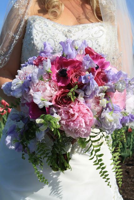 Vintage Brooch Bridal Bouquet - Splendid Stems Floral Designs - Peonies, anemones, sweetpeas, purple garden roses,and ferns