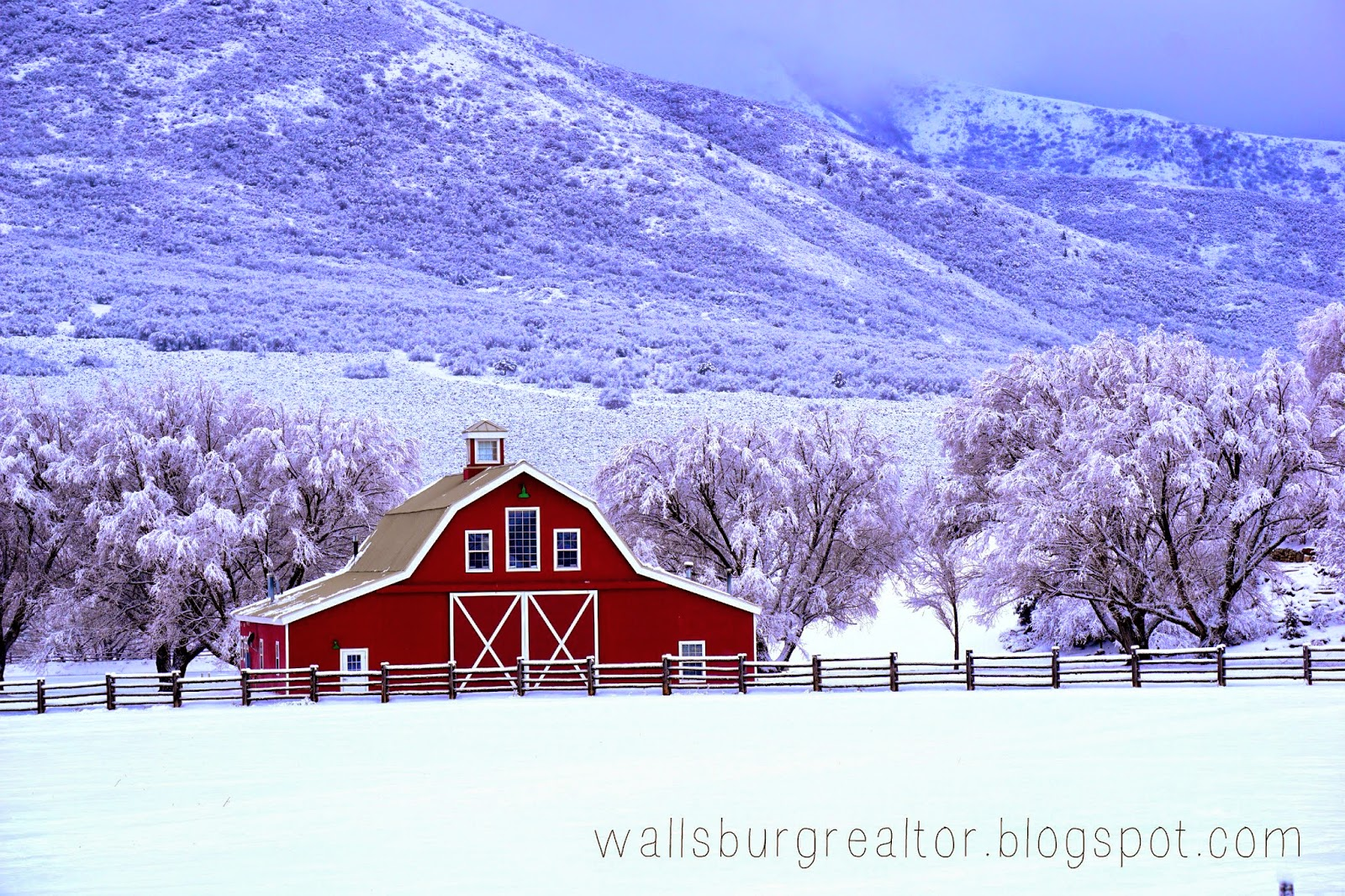 Red Barn with Snow in Wallsburg, UT
