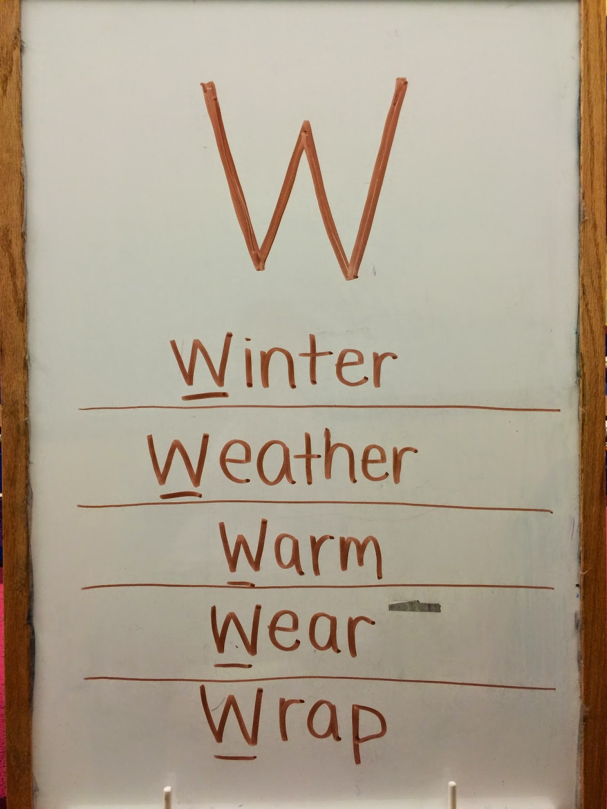 "Today's storytime is brought to you by the letter ""W."" So, on the board when the kids walked in was:"