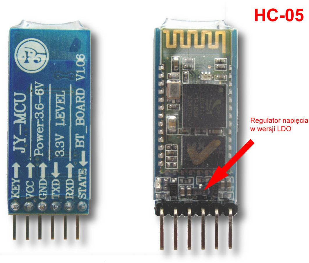 Przykład modułu HC-05 z regulatorem napięcia 3,3V