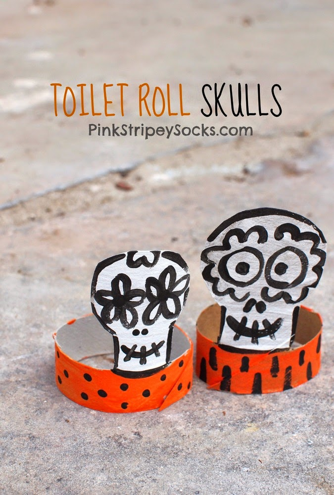 toilet paper roll skulls- great Halloween or Dia De Los Muertos craft #Halloween