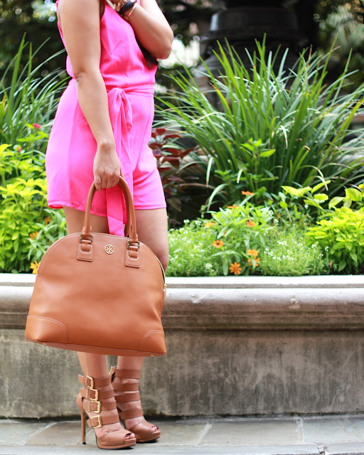 pink romper, tory burch camel bag, kristin cavallari lark, Chinese laundy lark, lark, how to wear a romper, how to wear a romper for pear shape, how to wear a romper for all body shapes, rocksbox, rocksbox promo code