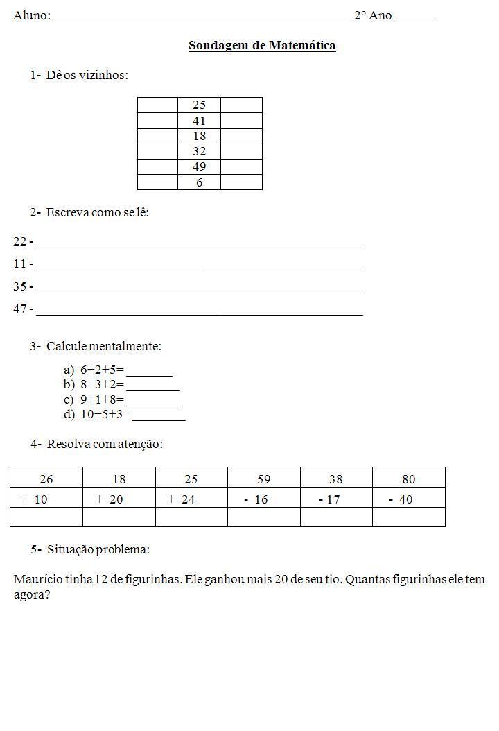 Atividades 2   Ano   Sondagem De Matematica   Sondagem 2   Ano 2 JPG