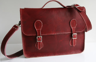 red handmade leather satchel