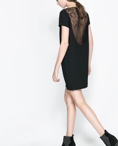 sırtı datel işlemeli transparan siyah elbise