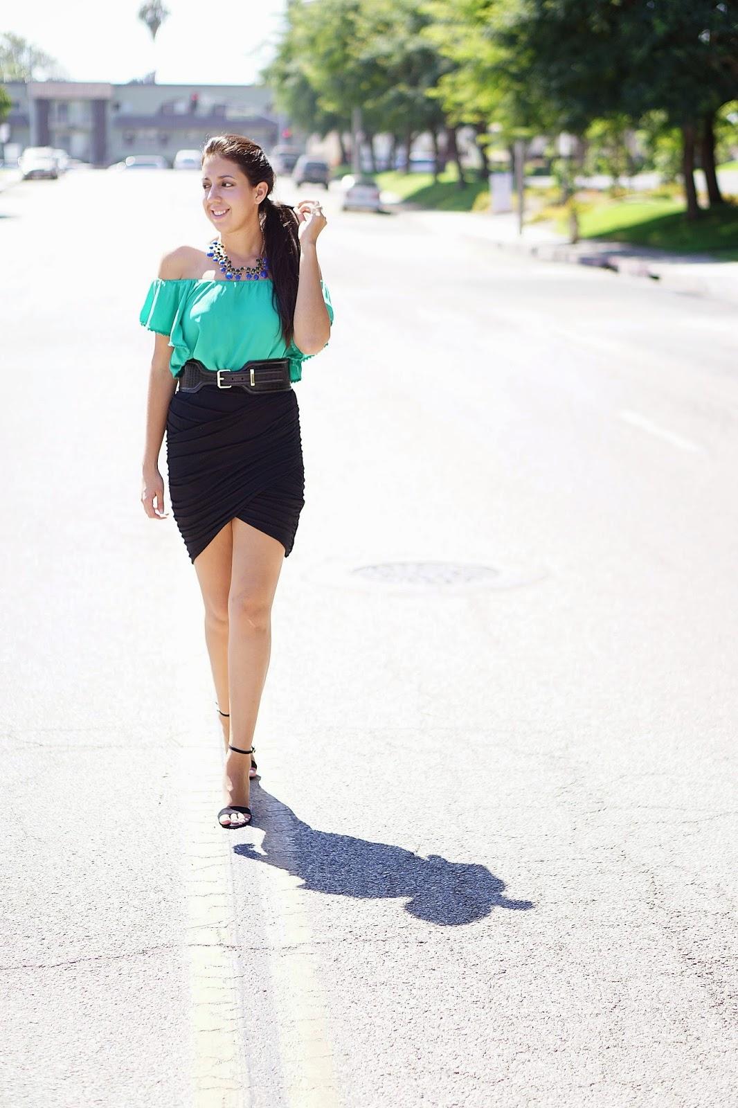 Forever 21, Kardashian Kollection Wrap Skirt, Zara heels, Altuzarra for Target Belt,