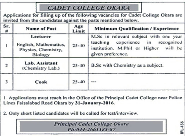 Teachers Required at Cadet College Okara