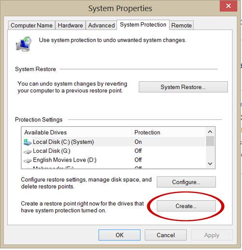 انشاء نقطة استعادة نظام System Restore في الويندوز 4