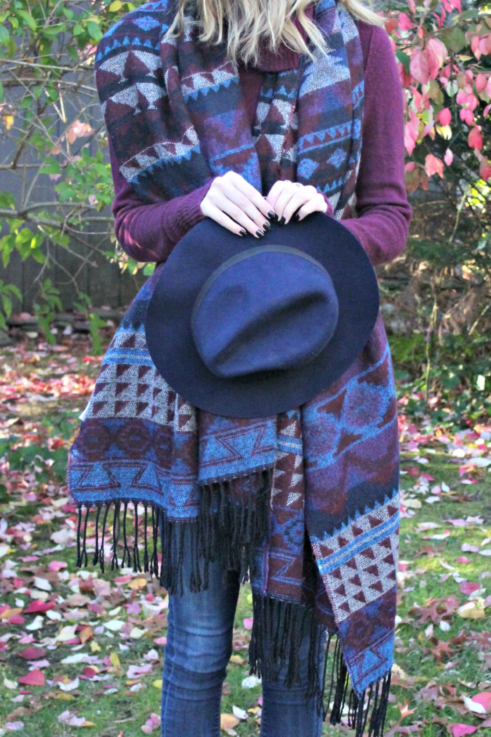 Navy & Burgundy Fall outfit