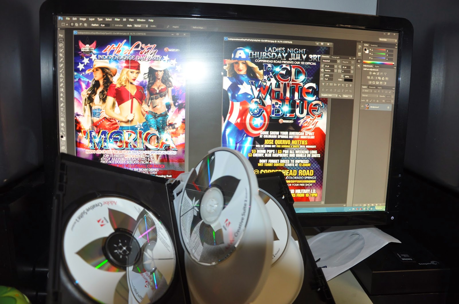 July 4th flyer design and adobe creative suite 2 CS2 Installation CDs
