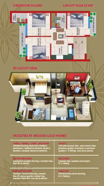 Arcadia Gold Homes 3 Bedroom Floors Lalru