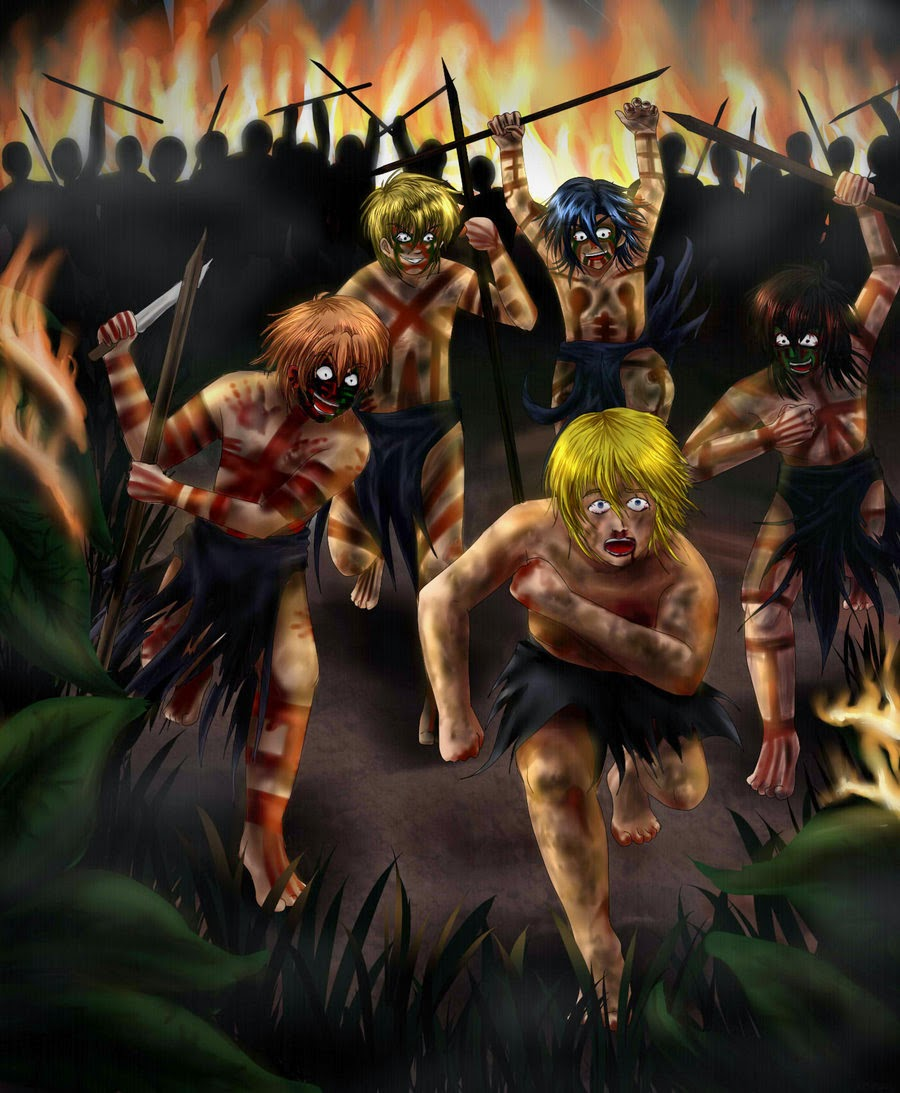 lord of the flies head spear The butt end of a spear fell on his back and he blundered among them 'hold him' they got his arms and legs ralph, carried away by a sudden thick excitement, grabbed eric's spear and jabbed at robert with it 'kill him kill him' all at once, robert screaming and struggling with the strength of frenzy.