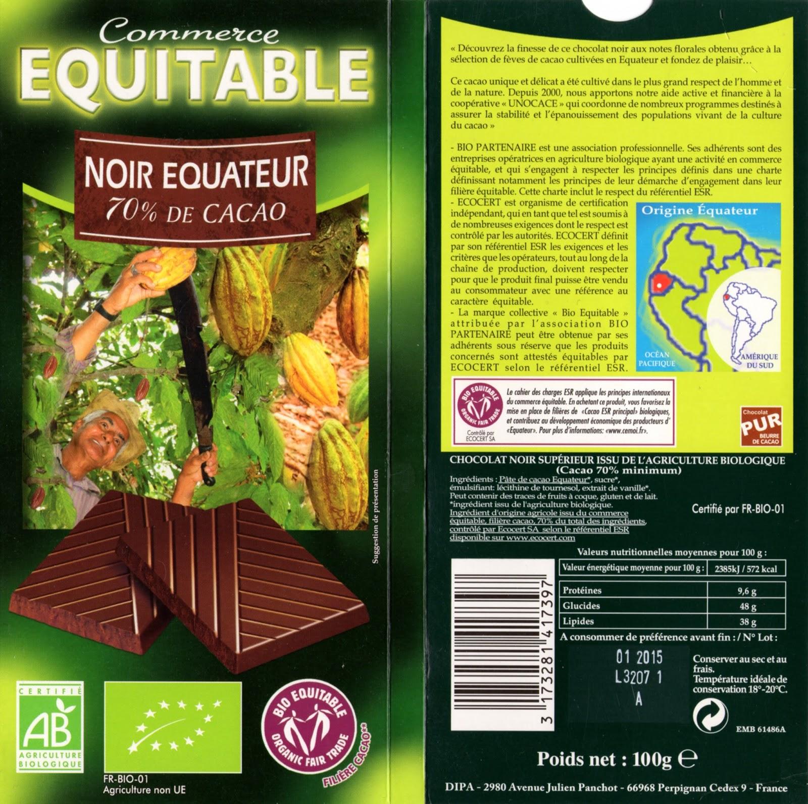 tablette de chocolat noir dégustation cémoi commerce equitable noir equateur 70