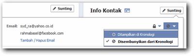 menampilkan email asli di facebook