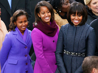 Michelle Obama With Malia and Sasha in Thom Browne Coat and Dress
