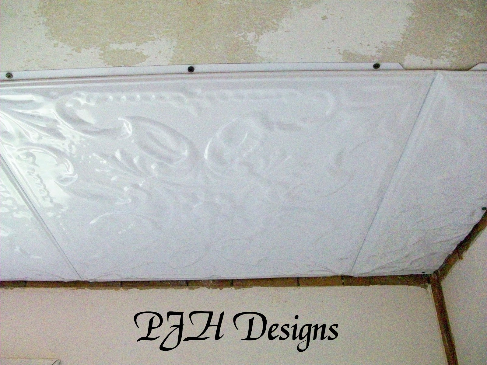 Pjh designs hand painted antique furniture kitchen remodel tin you start by screwing them to the sheetrock on two sides and then the next tile slides into slots on the one you just screwed in on the opposite two sides dailygadgetfo Images