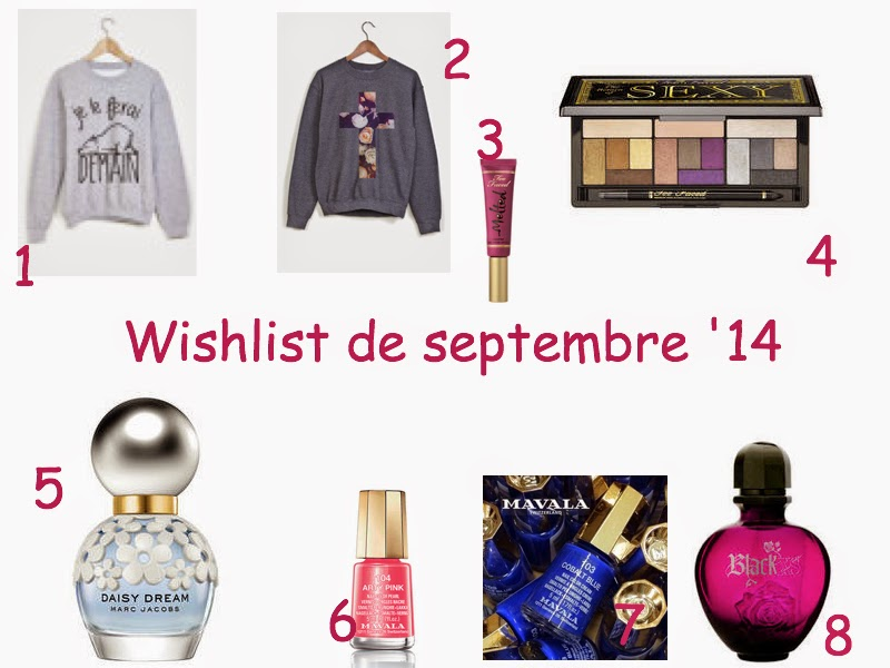 Wishlist, maquillage, make up , parfum, mode, RAD, Too Faced, Marc Jacobs , Paco Rabanne, Mavala