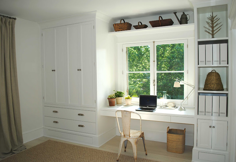 Home Office with Desk Under Window Ideas