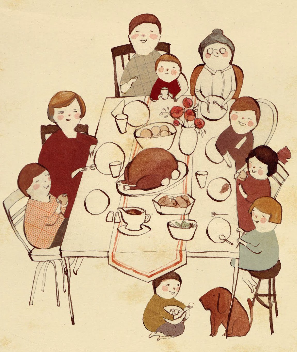 classic Thanksgiving dinner illustration by Kelsey Garrity-Riley