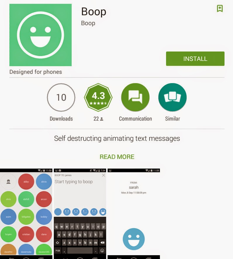[FREE APP] [Android] Boop: Self Destructing Animating Text Messages