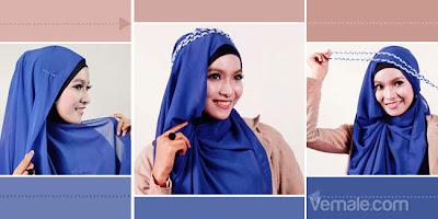 Cara Memakai Jilbab Pashmina Chiffon Biru