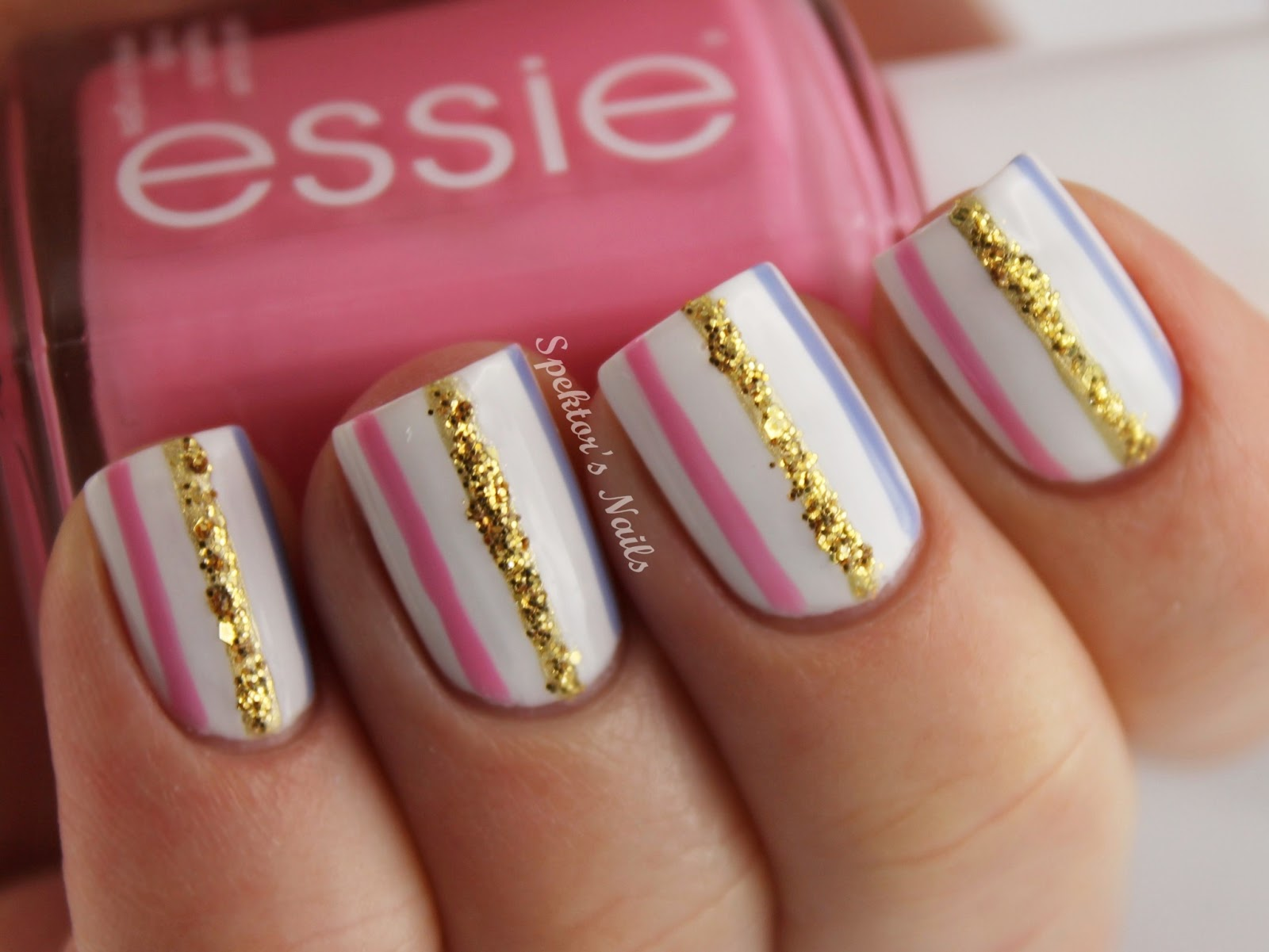 besweetxo: Sparkle Stripe Nails (Spektor's Nails)