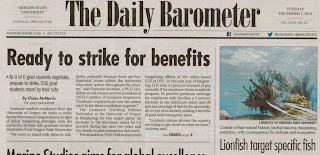 Headline 'Ready to strike for benefits' Barometer, Dec. 2, 2014, p. 1