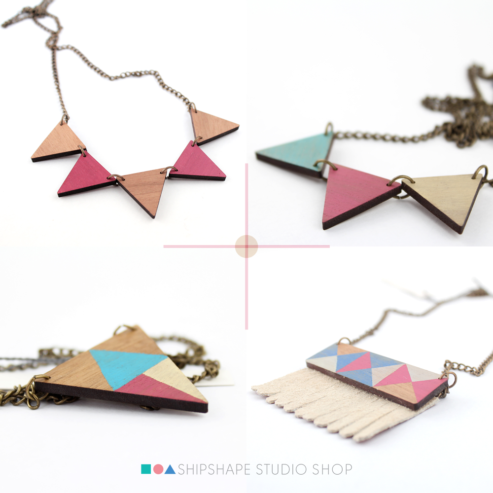 Handmade wooden geometric necklaces in the Shipshape Studio shop