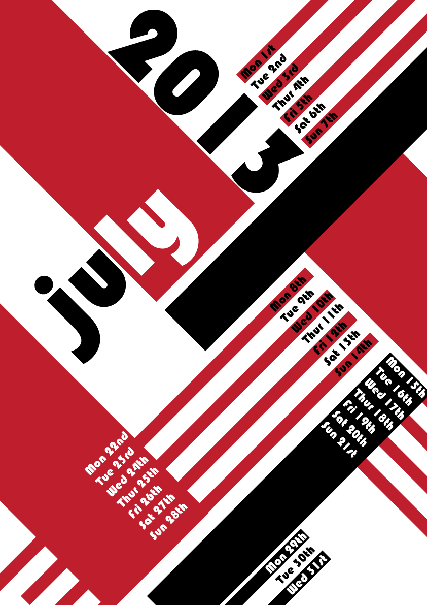 Calendar Typography S : Typographic calendar purple lime design