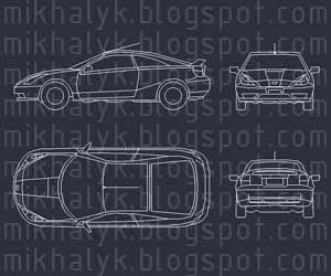 Free AutoCAD Block Toyota Car Plan View