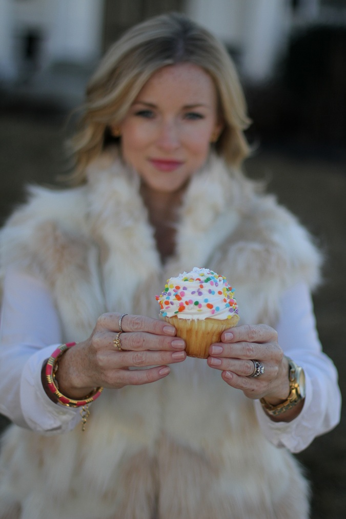 birthday, Birthday dinner, cupcakes, love, pink pants, St. James restaurant, fur vest, Gap, Nine West, Stella Dot, Michael Kors, sundance catalog, LosPhoto, Simply Lulu Style,