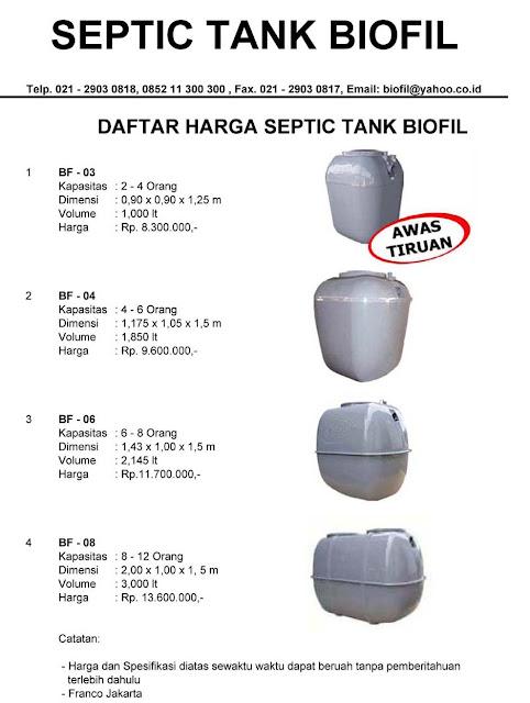 price list septic tank biofil, biotech, biogift, biofive, bioseven