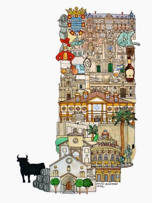 10-J-Jerez-de-la-Frontera-Spain-Hugo-Yoshikawa-Illustrated-Architectural-Alphabet-City-Typography-www-designstack-co