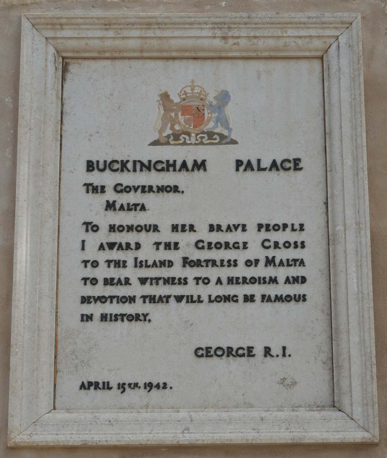 George Cross award to the people of Malta by King George VI