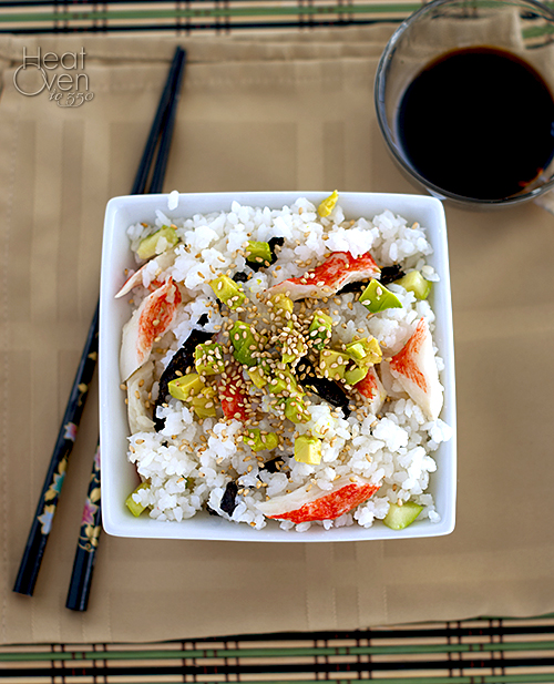 California Roll Sushi Salad ~ Heat Oven to 350