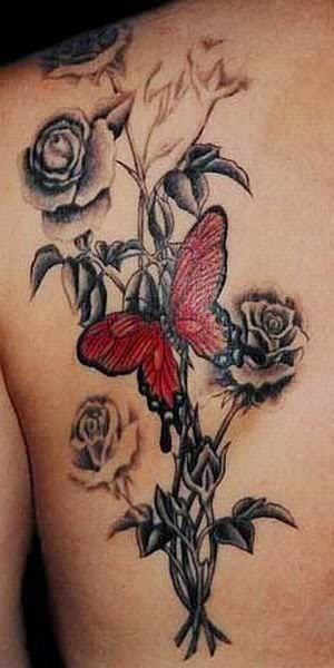 Rose and Butterfly Tattoo