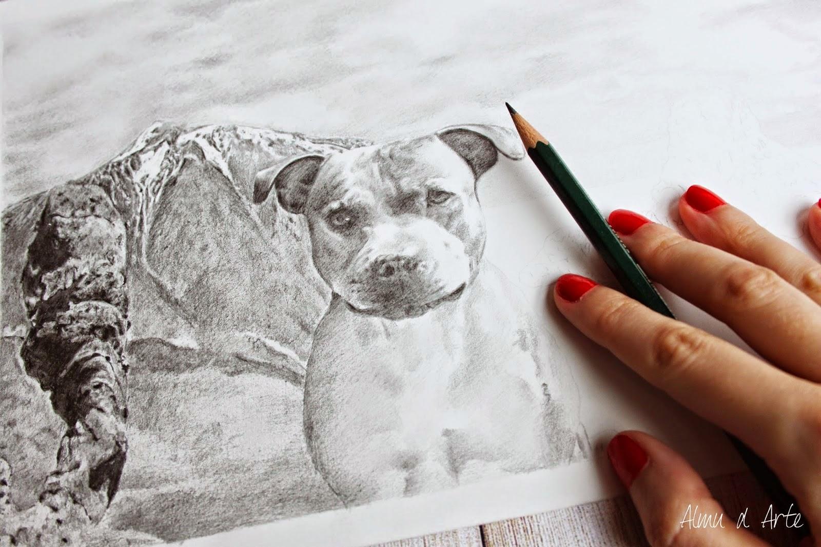 Dibujo realista a lápiz de un perro