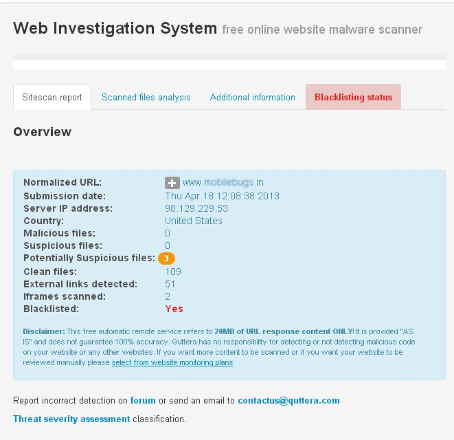 Website Malware Scanner detected malicious iframe injection