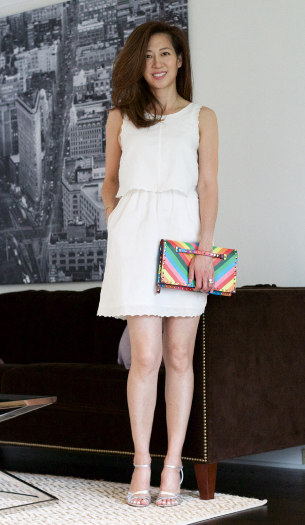 OOTD, white dress, Valentino bag