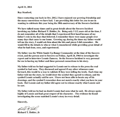Letter To Ray Stanford From Richard T. Holder, Jr 4-21-14