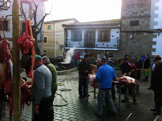 Matanza del cerdo en Parrillas (Toledo).