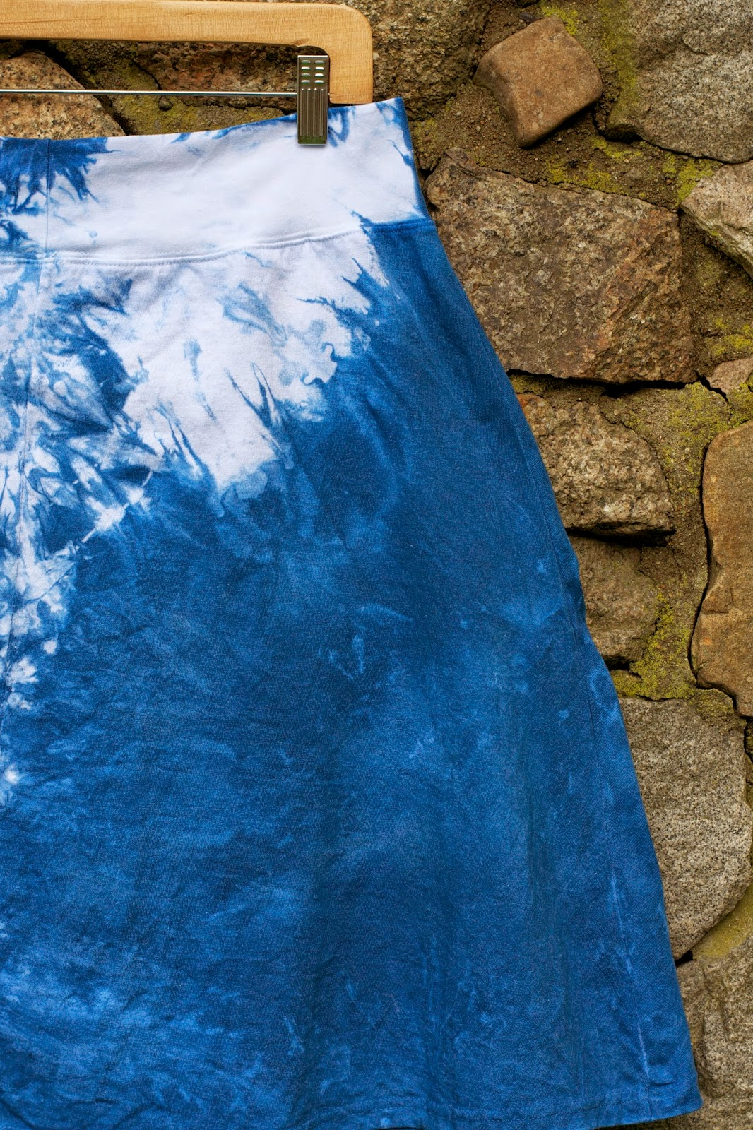 Profile: Right side. Indigo shibori skirt