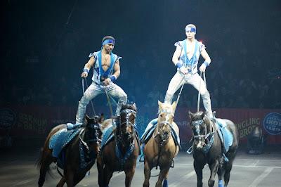 Riding standing on horseback