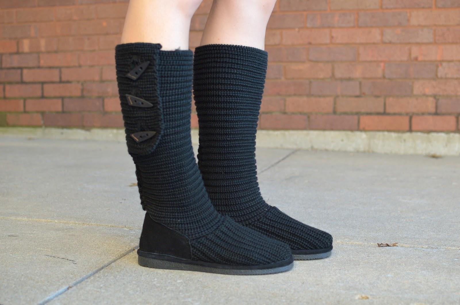 black knit bearpaw boots