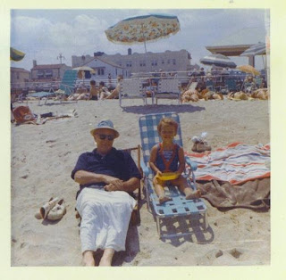 picture of Winey Mom at age 2 and her grandfather, Jersey Shore, 1965