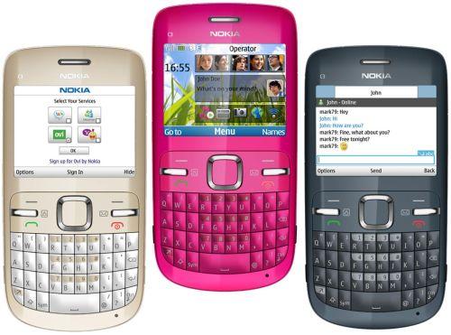 Nokia C3'ün çeşitli renk seçenekleri mevcut.