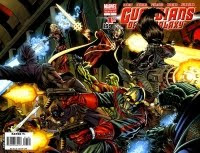 The Guardians of the Galaxy - Star-Lord (an otherworldly policeman), Drax (a musician turned resurrected nemesis of Thanos), Groot (a tree-being), Mantis (an alien-woman hybrid) and Rocket Racoon (a genetically altered racoon). (Basically The Avengers with more aliens.)
